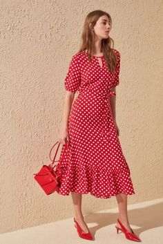 Red Dots, Polka Dots, Red Polka Dot Dress, Shoulder Length, Dress Codes, Woven Fabric, Evening Dresses, Short Sleeve Dresses, Belt