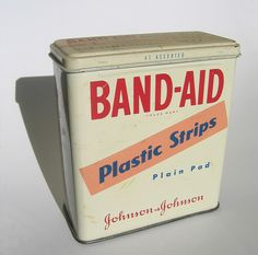 Band- Aid.. and we always saved the containers to store something in.. lol.