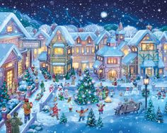 Holiday Village Square Jigsaw Puzzle | Illustrated by Randy Wollenmann | What's New | Vermont Christmas Co. VT Holiday Gift Shop Artwork by Randy Wollenmann