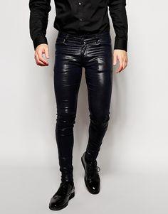 Shiny Black Skinny Jeans - Jeans Am