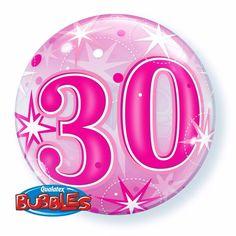 Folie helium ballon in het roze van 30 jaar. Folie ballon met 30 jaar geworden opdruk. De folie ballon is ongeveer 55 cm groot. Deze folie ballon wordt gevuld met helium geleverd en kan derhalve niet geretourneerd worden.