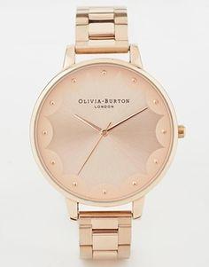 ShopStyle(ショップスタイル): Burton Olivia Scalloped Edge Rose Gold Bracelet Watch - Rose gold