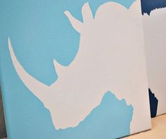 RHINOCEROS Painting on Canvas in Silhouette by ReinventingOrdinary, $20.00