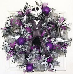 Purple Jack Skellington Christmas Door Wreath Nightmare Before Christmas