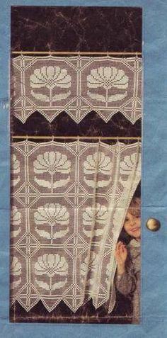 Gardine häkeln - cortinas crochet curtain Rideau au crochet - Brigitte DADAUX