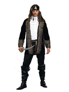 Rock the Ship Don't come a knockin', when his ships a rockin'! You'll be the talk of the ship in this bold buccaneer costume featuring a black velvet coat, head scarf with gold skull, satin ruffled dickey and striped waist sash. Pants are not included.