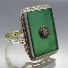 14k or Chrysoprase & bague filigranée à diamants Art par MurSadies