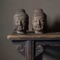 Handcarved Stone Buddha on Chinese antique altar table. #Asian #Antique #table