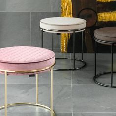 Taking the design of the Atollo side table and embellishing it with upholstery, the Atollo low stool is formed. While the metal frame remains, the added c Office Stool, Low Stool, Lounge Furniture, Stools, Iris, Upholstery, Led, Chair, Bedroom