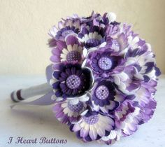"""Flower & Button Bouquet  """"Dotty about Buttons"""" Purple/Lilac/ White Fifties style. £140.00, via Etsy."""