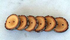 Botones - rama - hecho a mano madera botones-6 gran blackjack a mano árbol rama botones de madera con el corteza 1 2/5 pulgadas de diámetro.
