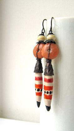 Border Crossing - rustic tribal earrings with artisan ceramics; red and white spike earrings, grungy assemblage earrings, primitive earrings