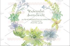 Digital Soft Watercolor Succulents I by Digital Paperie on @creativemarket