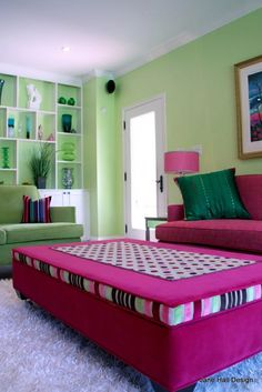 Custom Made, Upholstered Ottoman, in Pink and Green, Clarke and Clarke Velvet Fabric, By Jane Hall Design Green Paint Colors, Paint Color Schemes, Upholstered Ottoman, Upholstered Furniture, Clarke And Clarke Fabric, Interior Decorating, Interior Design, Hall Interior, Decorating Ideas