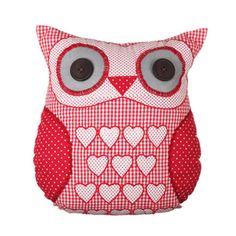 http://www.sassandbelle.co.uk/Scarlet 'Red' Heart Owl cushion with Inner