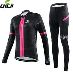 women winter windproof cycling sets Black Long sleeve Lycra cycling jersey womens Bike Bicycle Cycling clothing cheap Jersey
