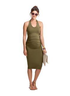 Becket Maternity Dress in Green   Isabella Oliver UK