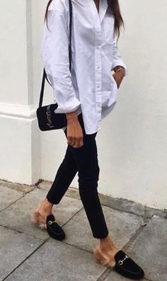 931db36fc8618b Oversized white t shirt Loafers Outfit, Gucci Loafers, Metallic Ankle  Boots, Black Jeans