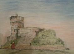 Pastel pencil on paper Bristol The observatory, Clifton