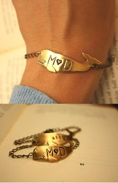 Personalized Whale Bracelet- This literally has my love's and my intials on it. It was made for me!