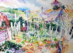 Watercolours | Paul Riley, Vegetable Garden Coombe