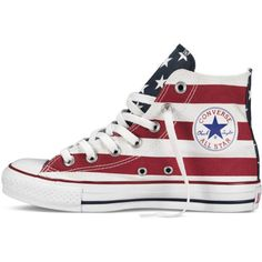 Converse Chuck Taylor Stars and Bars – red/blue Sneakers ($60) ❤ liked on Polyvore featuring shoes, sneakers, converse trainers, converse high tops, high top trainers, hi tops and high top sneakers
