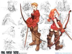 Not that Akihido Yoshida's archer illustration isn't great, what I'm really trying to show here are the illustrations in the background, which show as part of the credit sequence in FFT.  If anyone can point me to a clean render of these, it would be much appreciated!