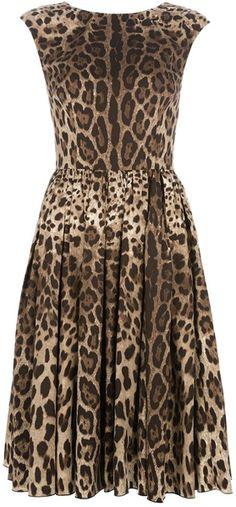 Dolce & Gabbana Leopard Print Dress in Brown
