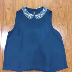 Real collared top Super cute teal top with a beaded collar. Tops Blouses