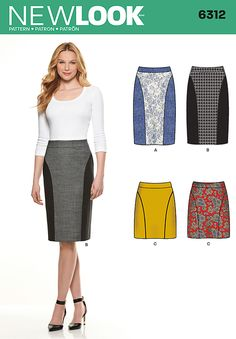 Create a shapely silhouette with a color blocked slim skirt. New Look 6312 is also a fantastic choice for expressing your flair for pattern mixing. Knee length skirt features overlay on front and back panel or contrast panels and waistband. Mini skirt has option of piped front and back panels.
