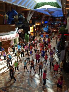 Zumba in the Royal Promenade. Not quite sure why there's a dragon on the ceiling.