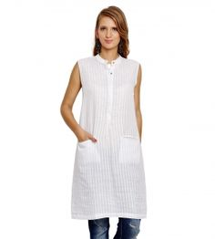 Jalebe trendy white tunic for women INDTJBS003