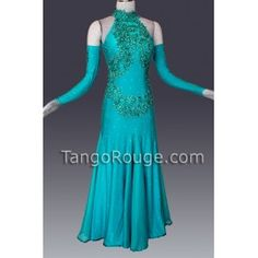 Share me and get 5% off coupon Teal Blue Ballroom American Smooth Dance Dress