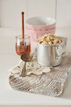 Oatmeal and honey mixed together make a fabulous face mask. One  sloughs away dead skin and the honey moisturizes. Warning...you may want to eat...but apply to your face leave on 10 mins and rinse well. Yum!