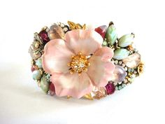 Bridal bracelet - wedding jewelry cuff - shabby chic pink and mint - vintage collage bridesmaids gift - created by Karin van Rijn of The Hague, Netherlands, Europe - on Etsy - available!  oh I wish!