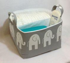 """LG Diaper Caddy 10""""x10""""x7"""" Fabric Bin, Fabric Storage Organizer, Basket, White Elephant /Grey with White Lining"""