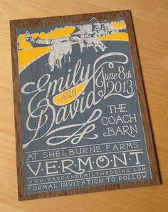 Three color wooden invitation. The veneer grain peeks through the ink.