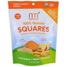 NurturMe, Quinoa Squares, Organic Puffed Crackers, Sweet Potato + Apple + Cinnamon, 1.76 oz (50 g)