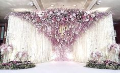 Reception Backdrop : Fleur Contact : 081-809-5459 #white #floral #flower #backdrop #decorations #combination #florist #wedding #ceremony #happy #beautiful #stand #logo #fleur #production #setup #real #hanging #florist #engagement #reception #wedding #bridal #groom