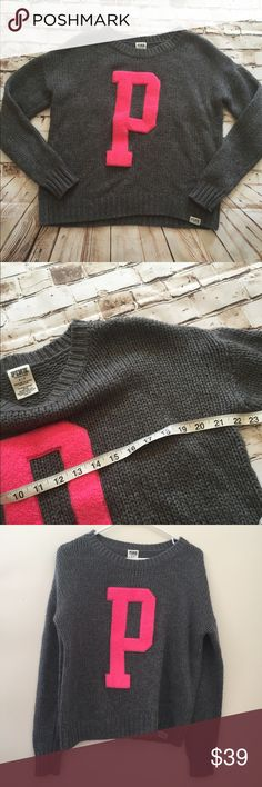 PINK Victoria's Secret oversized gray knit sweater Great condition, wool blend PINK Victoria's Secret Sweaters Crew & Scoop Necks