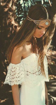 Bohemian hippie head piece lace dress off the shoulder long hair beautiful love
