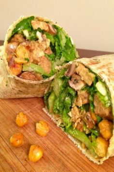 Mushroom and chic pea cesear wrap  :::  Lettuce Change : Holistic Health  >>>>>> delete the tempeh soy product and use more mushrooms or other bean (kidney?)