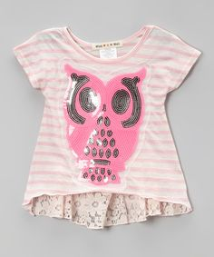 This Pink Owl Lace Cap-Sleeve Top - Toddler & Girls by Twirls & Twigs is perfect! #zulilyfinds