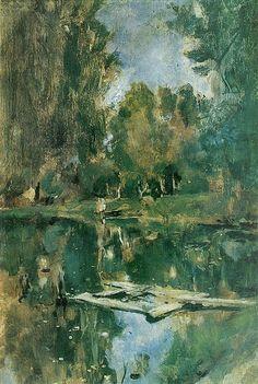 Valentin Serov (1865 –  1911) - Small Pond. Abramzevo (study), 1886