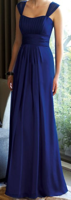 Royal blue floor length simple gorgeous wide straps chiffon and satin fabric bridesmaid dress