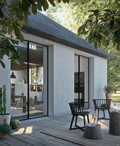 modern house exterior with modern outdoor seating, modern outdoor living room with modern outdoor chairs on modern pack patio design House Design, Interior And Exterior, Modern Minimalist House, House, Furniture Design Inspiration, Home, House Exterior, Exterior Design, Minimalist Home