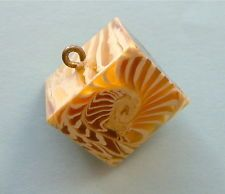 Vintage 1940s Marion Weeber Button, Wedge Of Cheese With Nautilus Shell Pattern