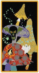 In A Dark Dark Wood - Chart. Designer: Alessandra Adelaide Needleworks , Price: We sell cross stitch supplies online. Huge range of patterns, kits, fabrics and fibers. Halloween Cross Stitches, Cross Stitch Supplies, Halloween Design, Dark Wood, Cross Stitching, Needlework, Kids Rugs, Chart, Kit