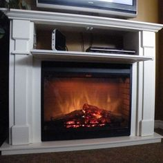 ways to cover a wall mounted tv over fireplace - Yahoo Image Search Results Tv Over Fireplace, Fireplace Mantle, Fireplace Design, Fireplace Ideas, Fireplace Remodel, Fireplaces With Tv Above, Fireplace Molding, Fireplace Console, Mantle Ideas