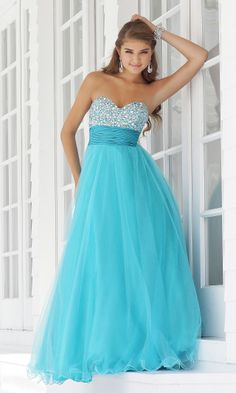 Vestido de baile azul longo